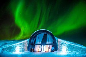 northern lights over the ICEHOTEL in Jukkasjarvi Sweden