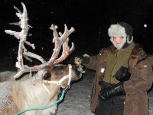 Feeding the reindeer in Swedish Lapland