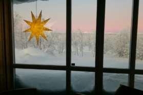 Looking through the window at Mattarahkka Lodge