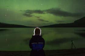 Aurora above the lake in Abisko