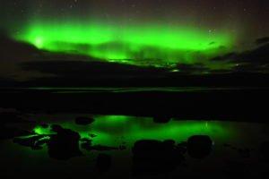 Aurora reflection, Swedish Lapland