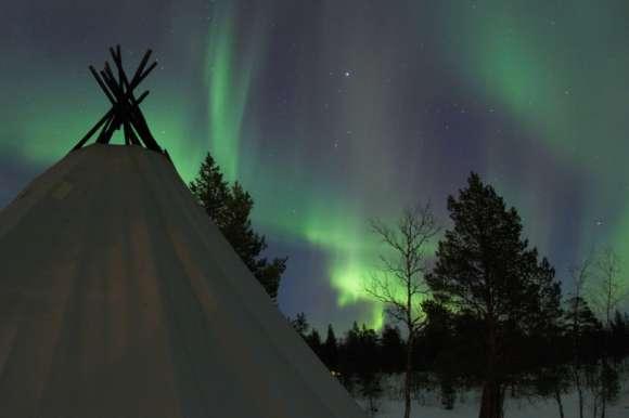 Husky sledding with the light fading - Sweden