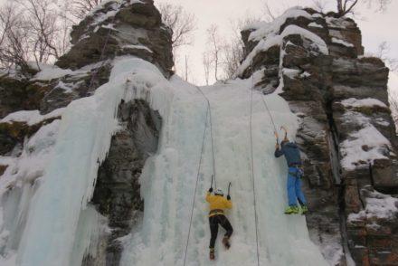 Ice climbing in Abisko canyon
