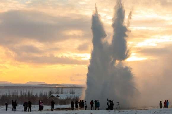 Blowing geyser in Iceland