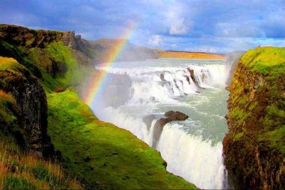 Rainbow at Gullfoss waterfall, Iceland