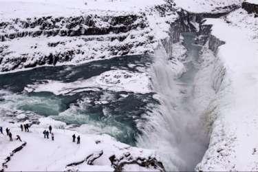 Aerial view of Gullfoss waterfall, Iceland