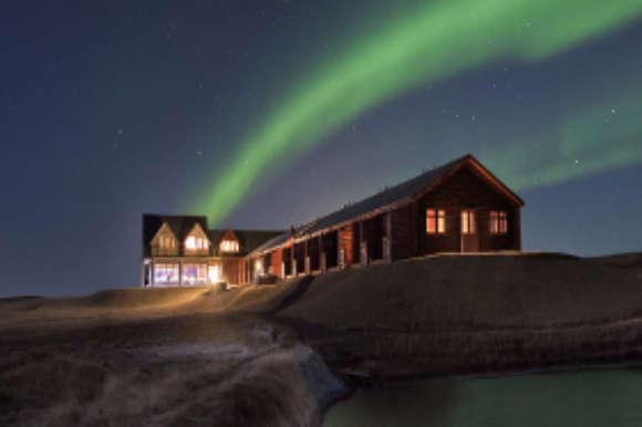 Aurora over Hotel Ranga, Iceland