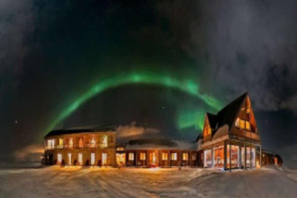 Northern Lights over Hotel Ranga Iceland