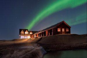 Northern Lights above Hotel Ranga, Iceland
