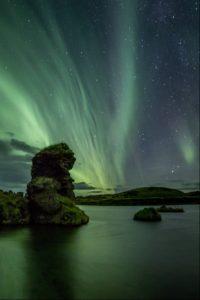 Aurora Borealis at Myvatn Lake, North Iceland