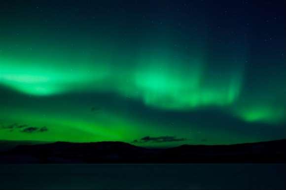 Deep green Northern Lights, Iceland