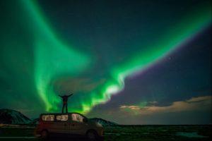 Northern Lights view on SuperJeep hunt, Iceland