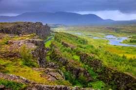 View of Pingvellir mini rift valley, Iceland