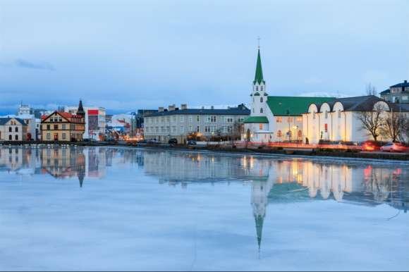 Reykjavik Cathedral and Northern Lights, Iceland