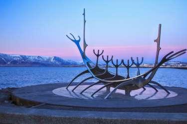 Sunset over the sculpture in Reykjavik, Iceland