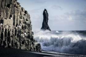 Basalt columns on beach at Reynisfjara, Vik, Iceland