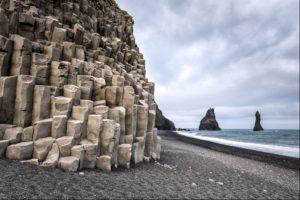 Basalt columns on the Black Beaches at Reynisfjara, Iceland
