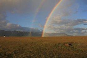 Rainbows near Eyjafjallajokull wilderness cabin, Iceland