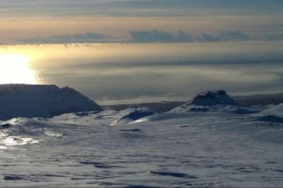 View at Sunrise at the Eyjafjallajokull Volcano, Iceland