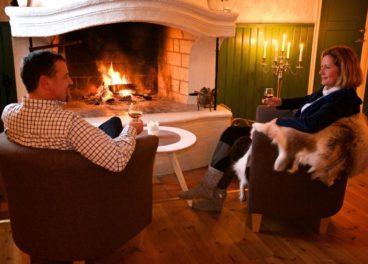 Fireplace at Pine Bay Lodge Lulea