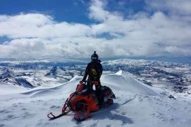 Snowmobiling on Eyjafjallajokull Volcano in Iceland