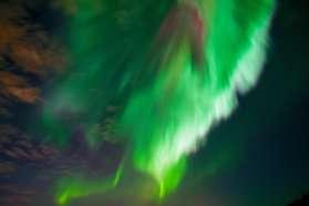 Amazing aurora above Pine Bay Lodge