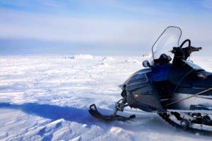 Snowmobiling on Eyjafjallajokull Glacier in Iceland