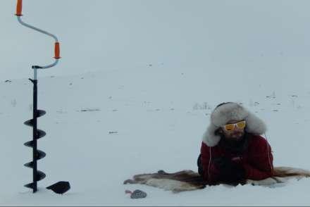 Ice hole fishing, Sweden