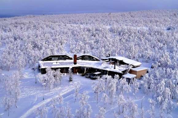 Snow covered Mattarahkka Lodge, Sweden