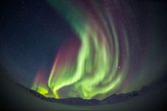 Amazing swirl of Northern Lights in Sweden