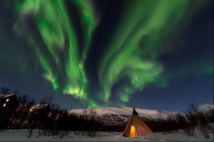 Northern Lights over tepee in Abisko sweden