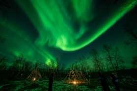 Northern Lights over tepee, Sweden