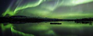 Northern Lights over Pingvellir Lake in Iceland