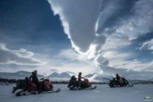 Snowmobile trekking in Abisko Sweden