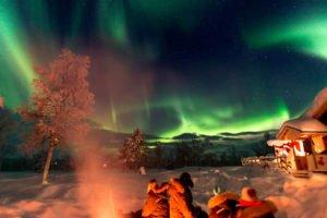 Aurora at Gourmet wilderness cabins Sweden