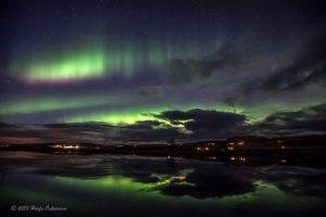 Northern Lights above Smaratun Farm area, Iceland