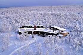 A snowy Mattarahkka Lodge, Sweden