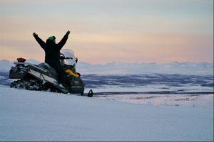 snowmobiling near Máttaráhkká Northern Lights Lodge
