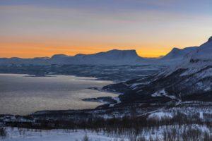 Kamoos light over Laporten in Abisko National Park Sweden