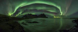 northern lights over the norwegian coast in Lapland