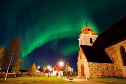 Northern lights over Gammelstad Lulea Sweden