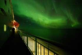 Northern lights on Hurtigruten Ship