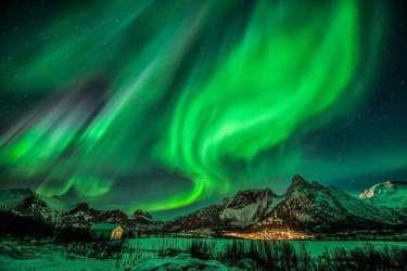 Northern Lights over Norwegian Fjords