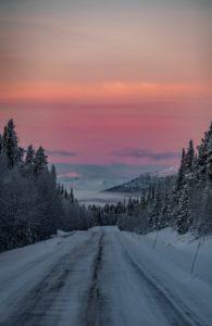 Downhill sunset