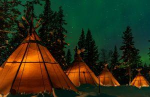 Northern lights over yurts