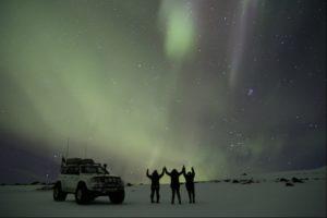 Northern Lights on top of the Glacier on Eyjafjallajökull Volcano in Iceland