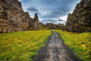 Pingvellir mini rift valley on the Golden Circle in Iceland