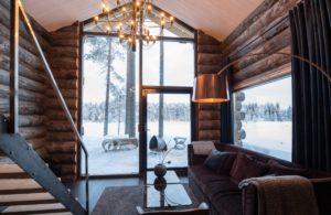 Stylish interior in the log cabin at the Arctic Retreat Lulea
