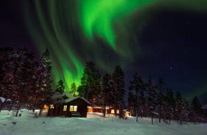 Northern Lights over Fellborg Arctic Lodge