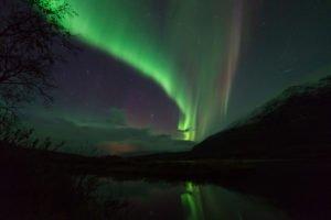Curtain Northern Lights in Abisko National Park Sweden